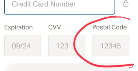 Credit Card Postal Code