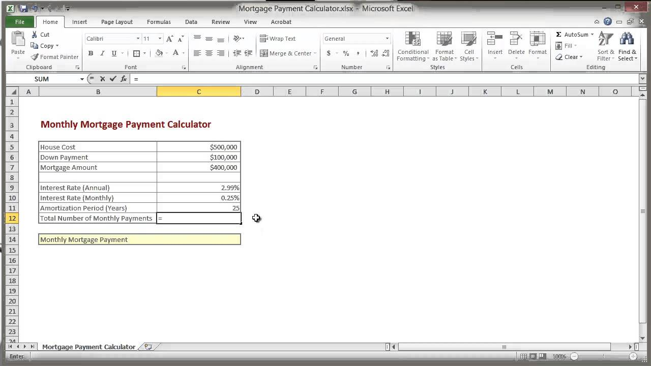 calculate mortgage payment in excel photo - 1
