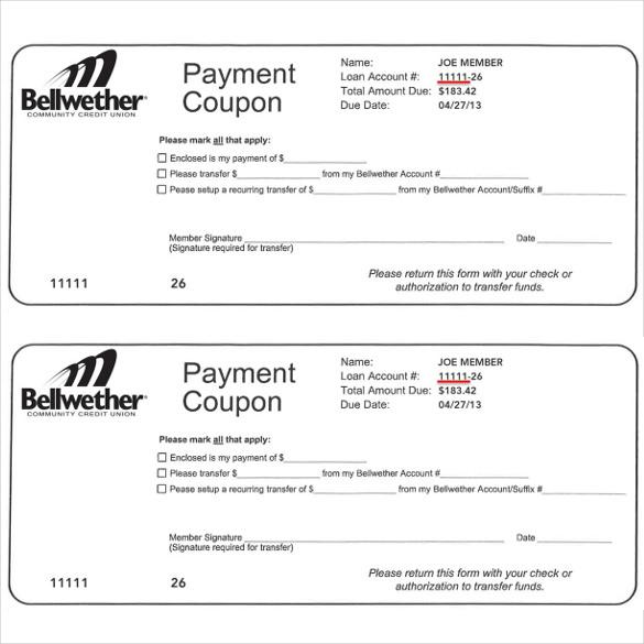 coupon payment photo - 1
