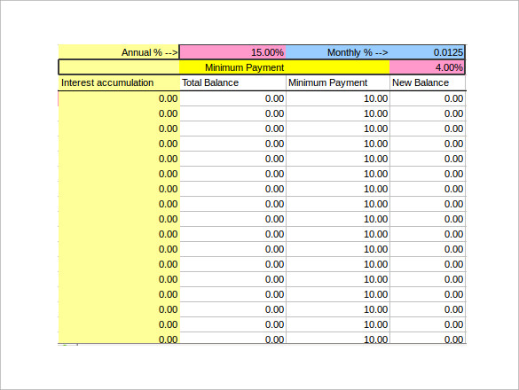 credit card payment calculator excel photo - 1