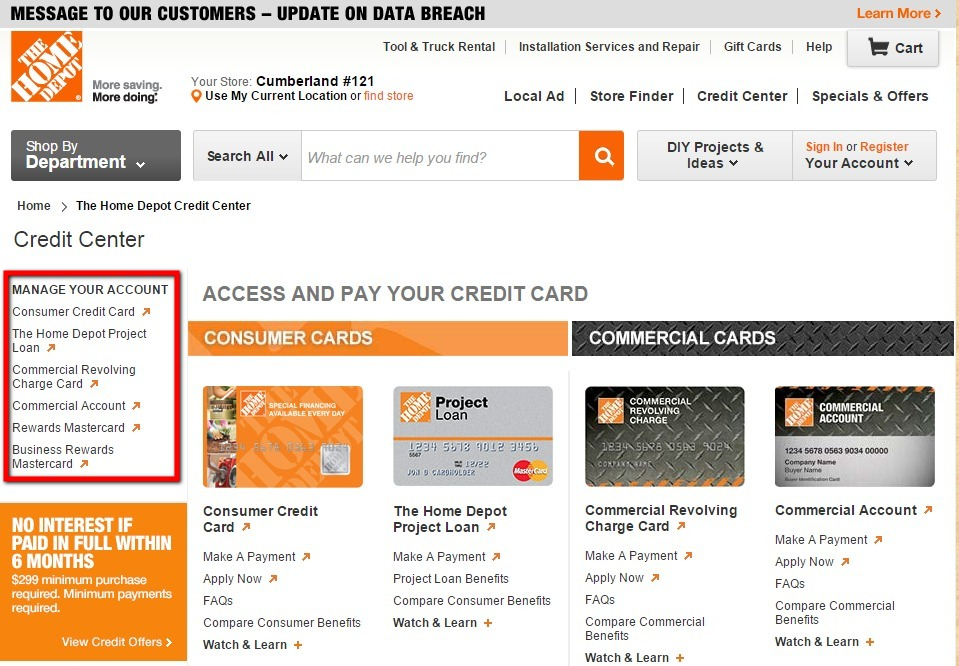 home depot credit payment photo - 1