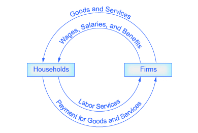 in the ____________, households work and receive payment from firms. photo - 1