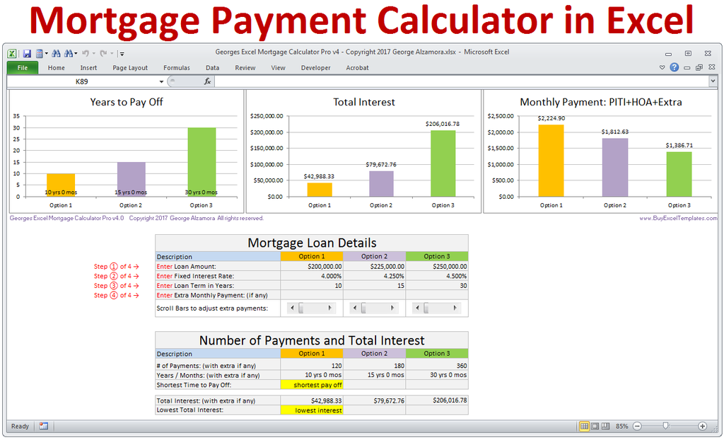 mortgage payment calculator excel photo - 1
