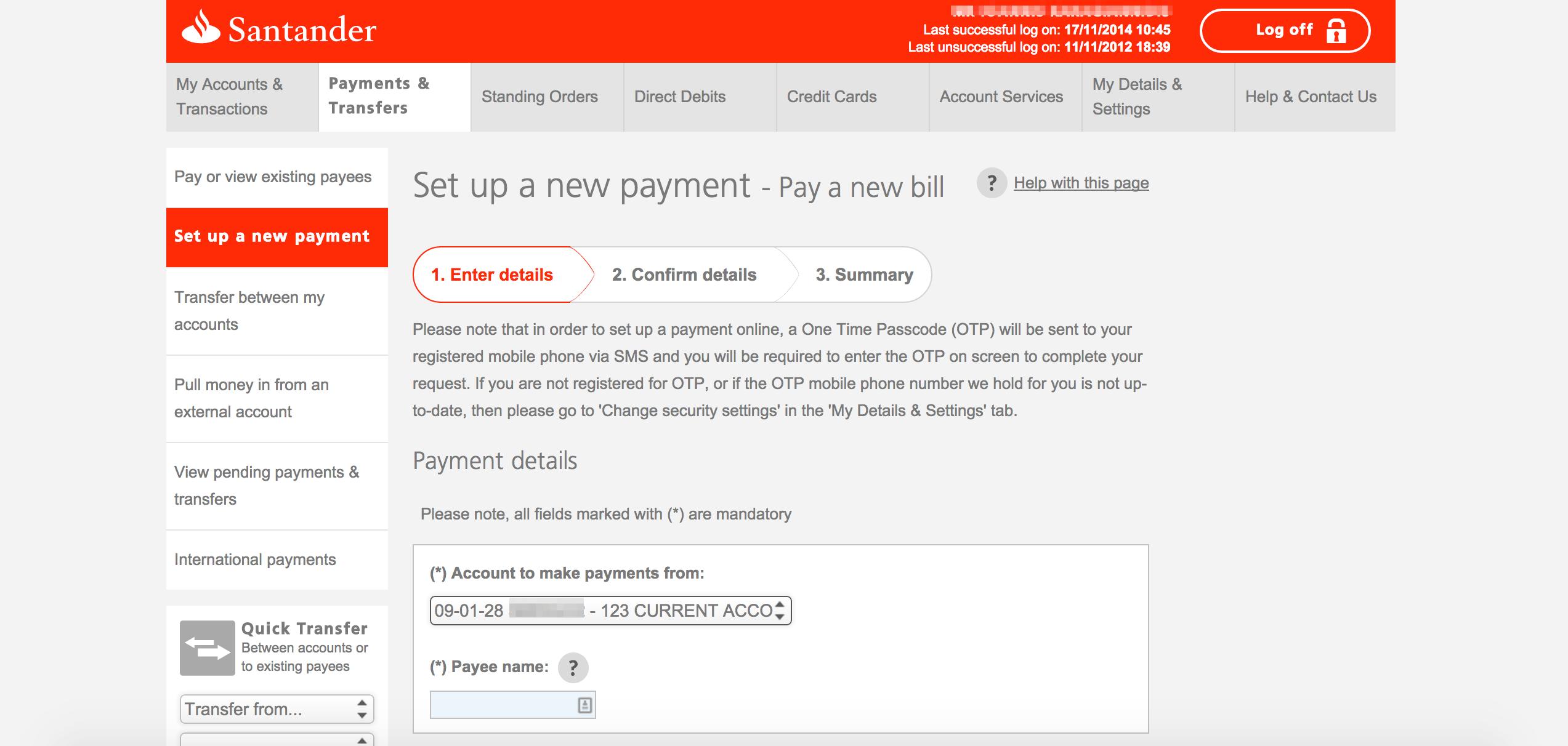 santander make a payment photo - 1