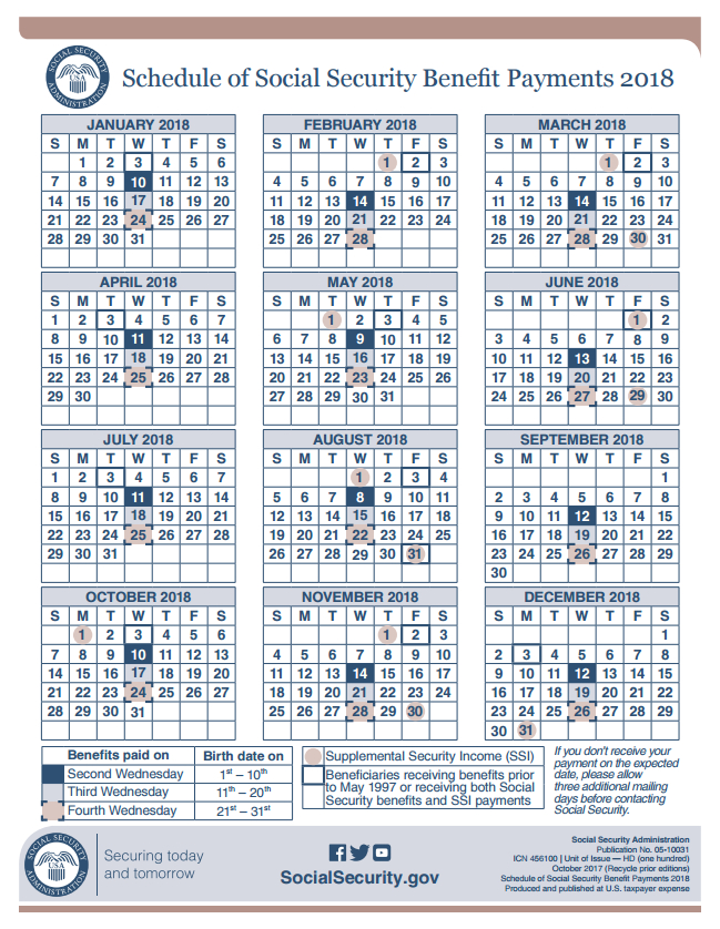 social security payment schedule 2018 photo - 1