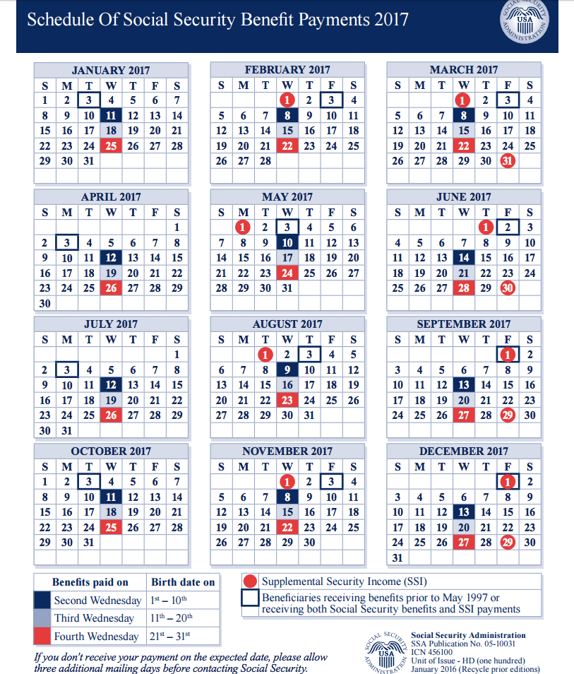 social security payment schedule for 2017 photo - 1