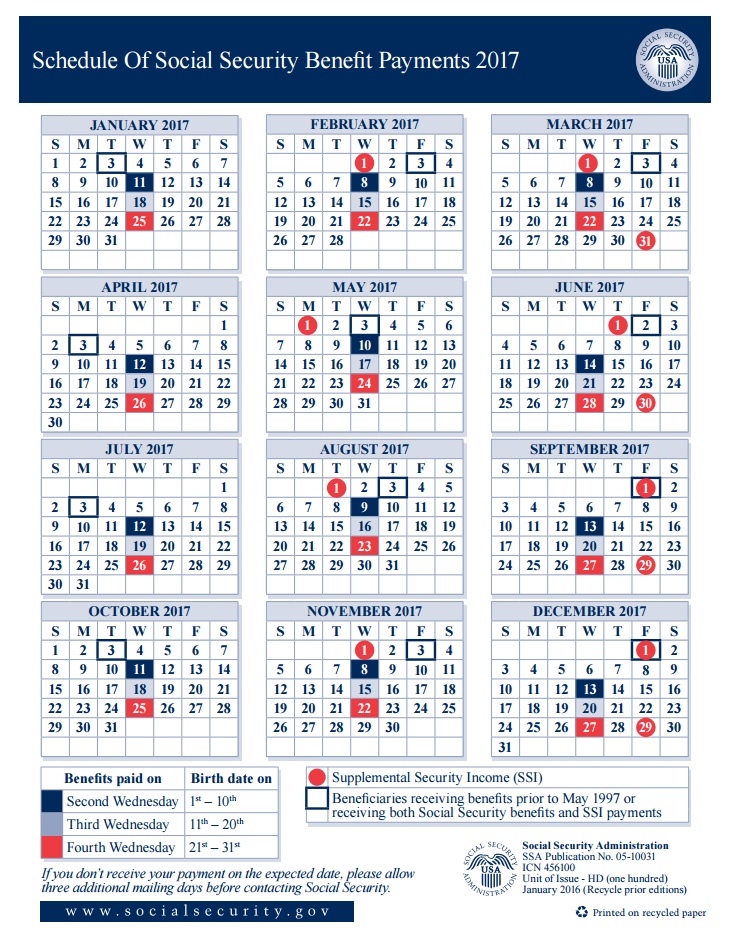 social security payment schedule for 2018 photo - 1
